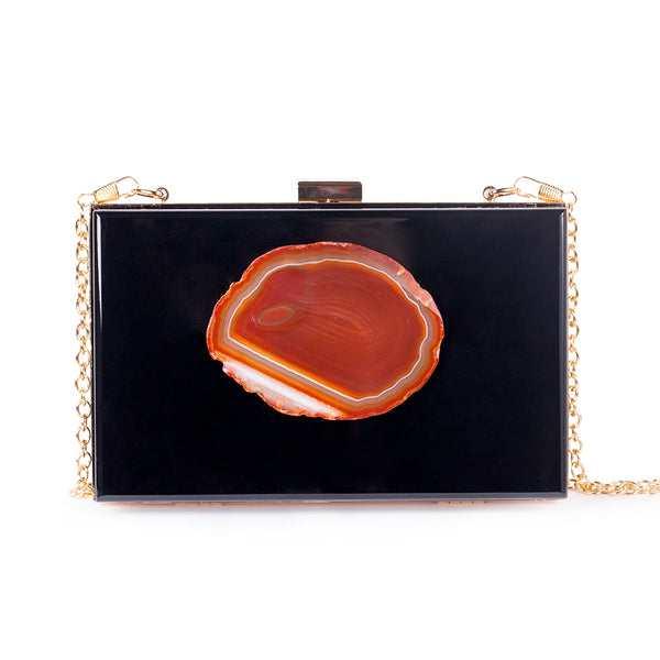 Agate Evening Clutch - Black/Amber