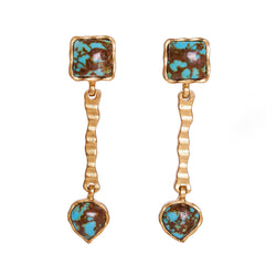 Deco Russes Drop Earring - Turquoise/Turquoise - Christina Greene LLC