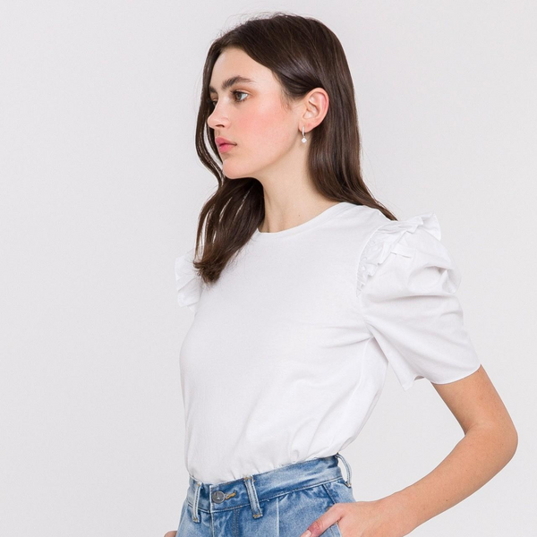 Poplin Puff Sleeve T-Shirt