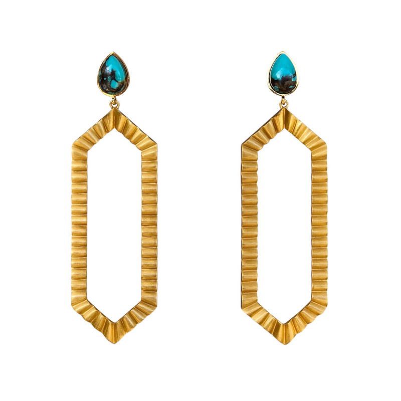 Strike Bold Statement Earrings - Turquoise - Christina Greene LLC