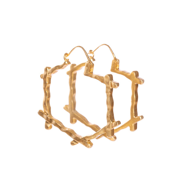Deco Cross Hoops - Christina Greene LLC