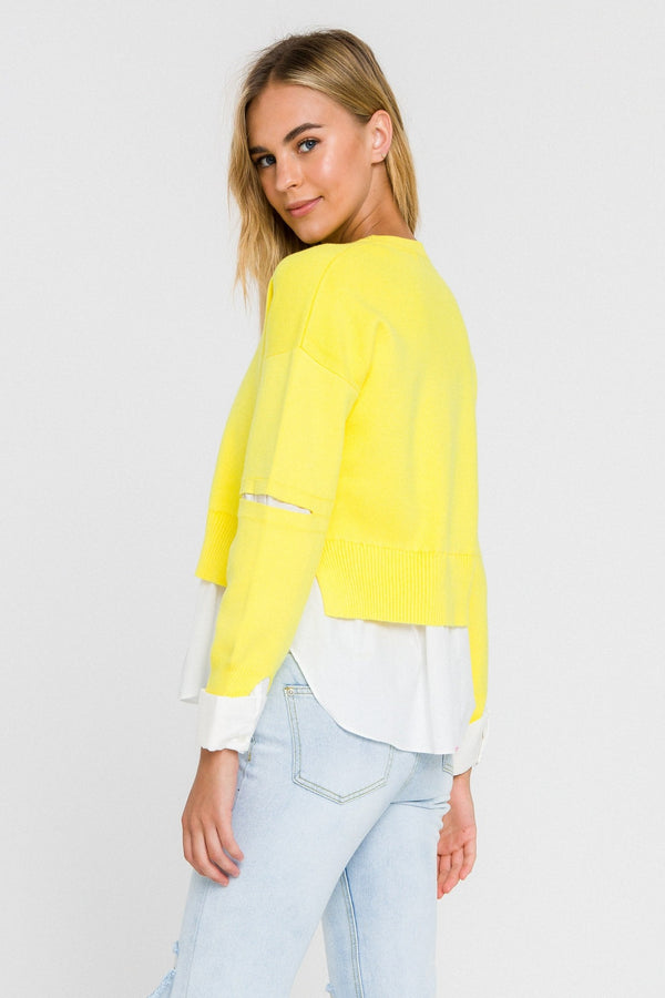Poplin Combo Slash Arm Sweater - Yellow