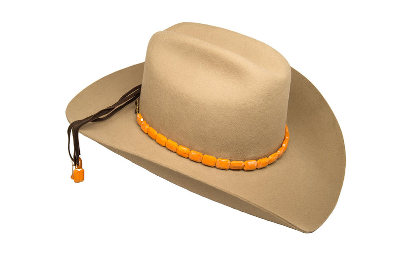 Faceted Orange Hat Band