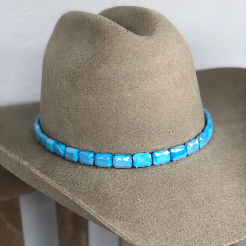 Faceted Sky Blue Hat Band