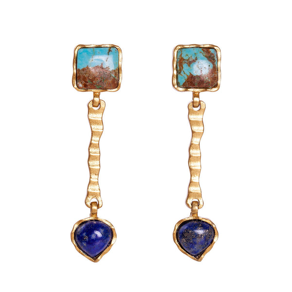Deco Russes Drop Earring - Turquoise/Lapis - Christina Greene LLC