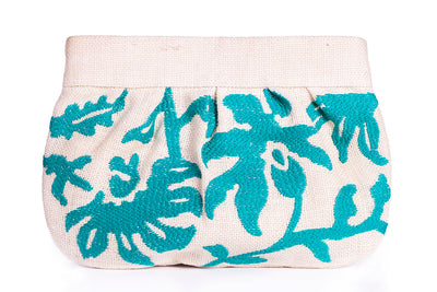 Embroidered Vine Clutch