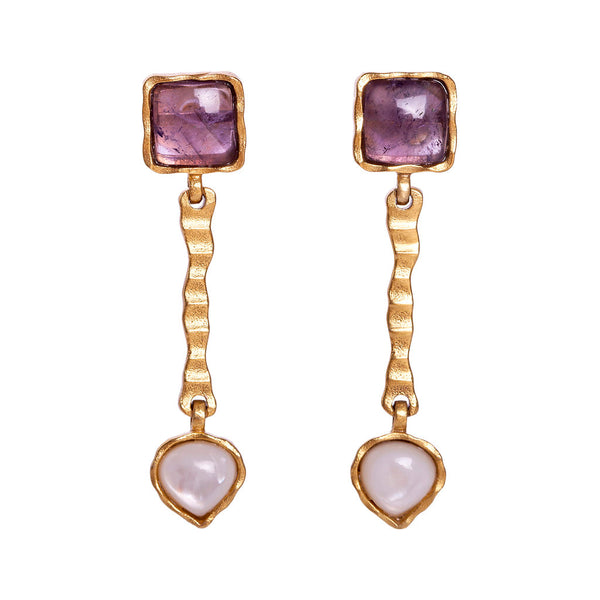 Deco Russes Drop Earring - Amethyst/Pearl - Christina Greene LLC