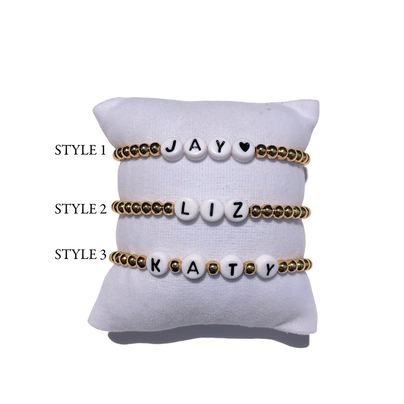Custom Letter Gold Beaded Bracelet