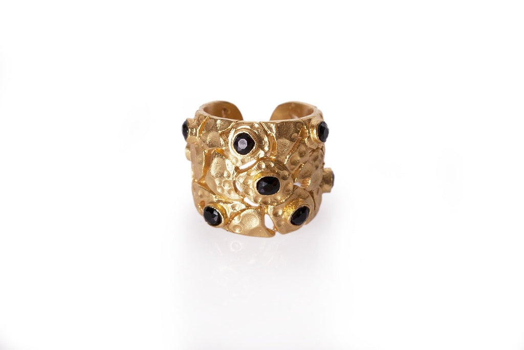 Confetti Ring - Christina Greene LLC- 18K Gold Plated, Hammered, Stones