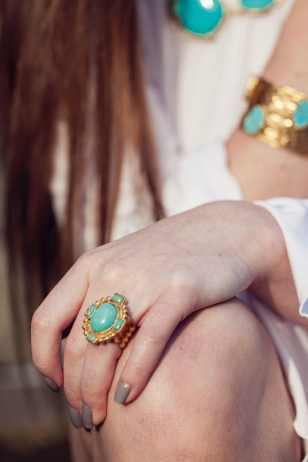 Southwestern Statement Ring - Turquoise - Christina Greene LLC