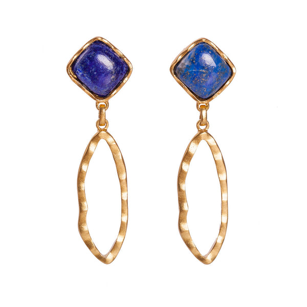 Deco Ovate Earring - Lapis - Christina Greene LLC
