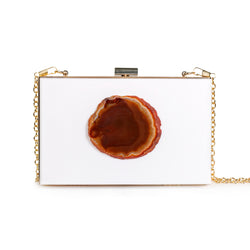 Agate Evening Clutch - White/Amber