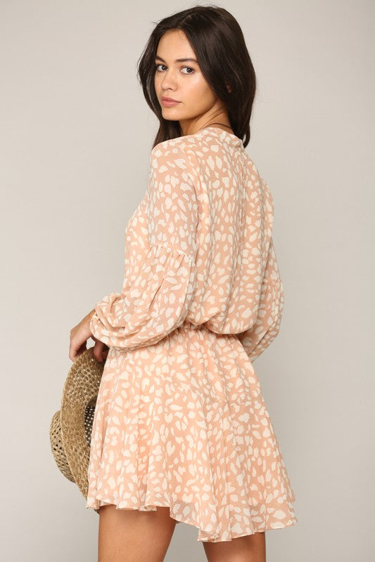 Leopard Print Long Sleeve Mauve Dress