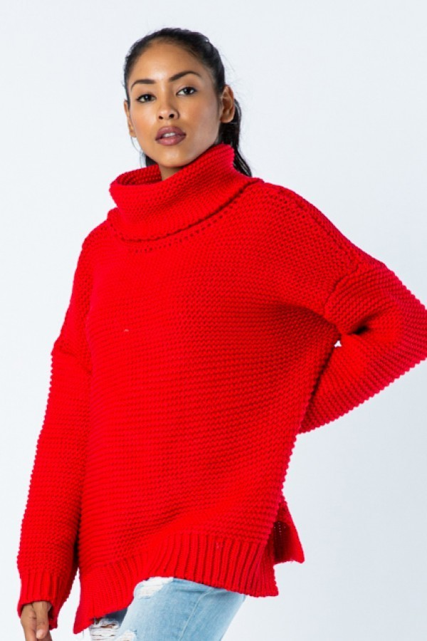 Chunky Knit Sweater - Red