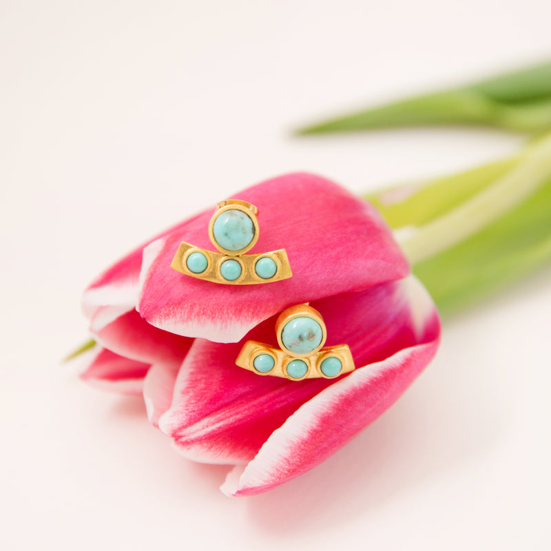 Turquoise Curved Bar Stud Earrings