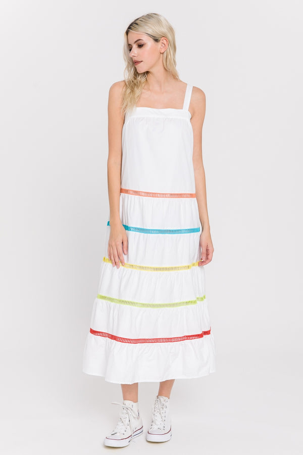 White Tier Multi Stripe Dress