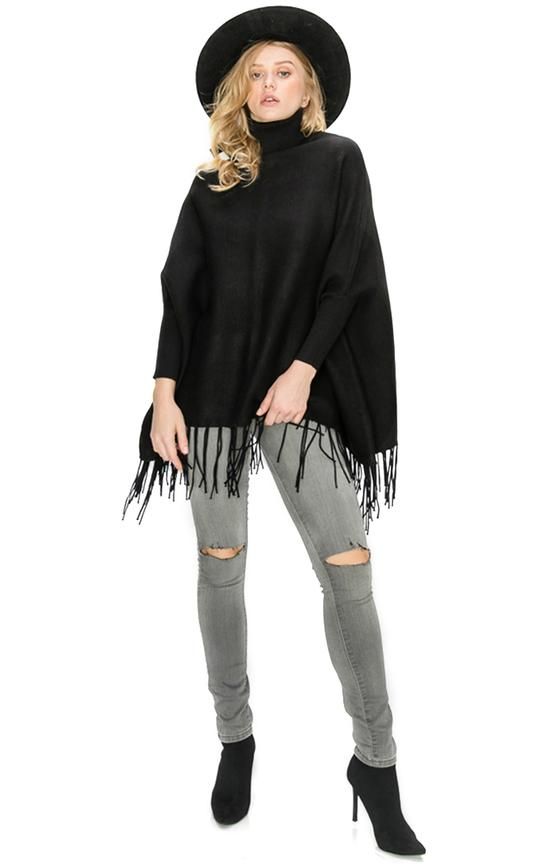 Turtleneck Poncho with Fringe - Black - Christina Greene LLC