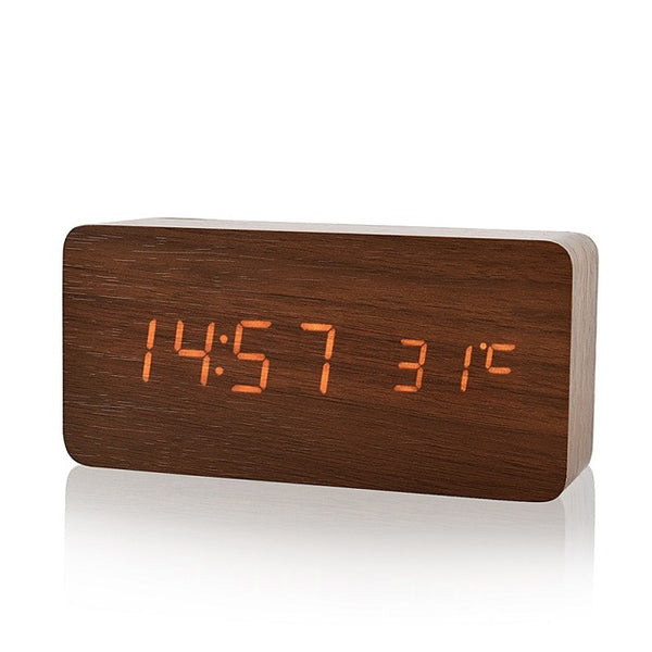 Wooden LED Alarm Clock/Temperature Display