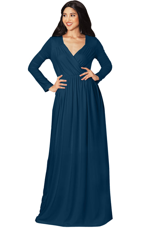 SKYLAR - Long Sleeve Empire Waist Modest Fall Flowy Maxi Dress Gown