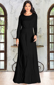 BELLA - Full Sleeve Fall Winter Tall Modest Flowy Maxi Dress Gown - Black