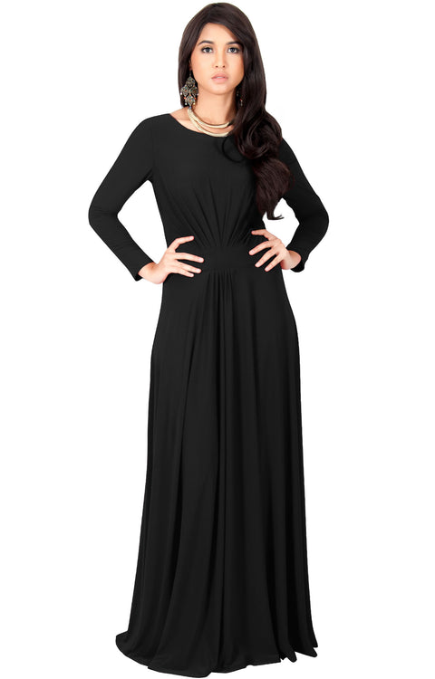 BELLA - Full Sleeve Fall Winter Tall Modest Flowy Maxi Dress Gown