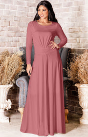 BELLA - Full Sleeve Fall Winter Tall Modest Flowy Maxi Dress Gown - Cinnamon Rose Pink