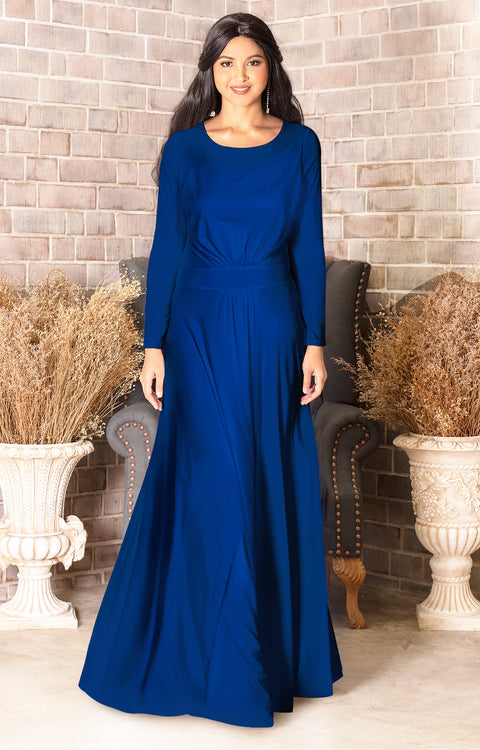 BELLA - Full Sleeve Fall Winter Tall Modest Flowy Maxi Dress Gown - Cobalt Royal Blue