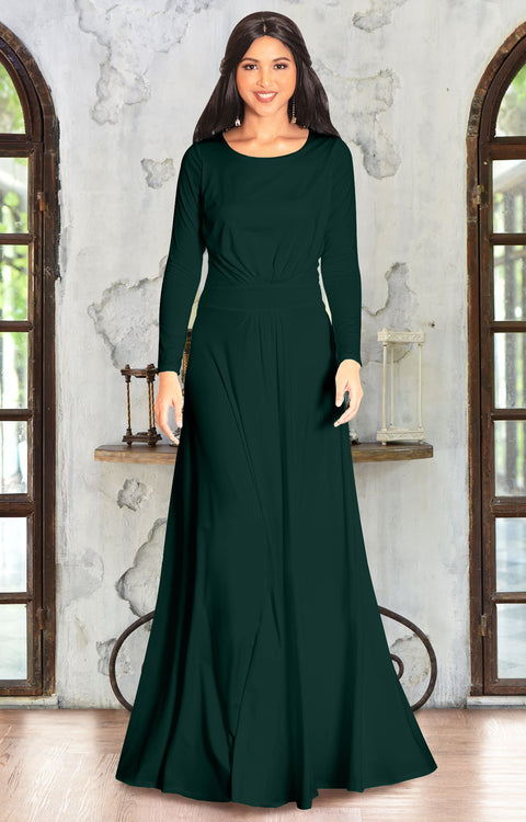 BELLA - Full Sleeve Fall Winter Tall Modest Flowy Maxi Dress Gown - Emerald Green