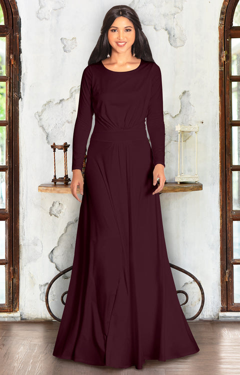 BELLA - Full Sleeve Fall Winter Tall Modest Flowy Maxi Dress Gown - Maroon Wine Red