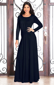 BELLA - Full Sleeve Fall Winter Tall Modest Flowy Maxi Dress Gown - Dark Navy Blue