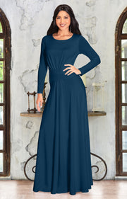 BELLA - Full Sleeve Fall Winter Tall Modest Flowy Maxi Dress Gown - Blue Teal