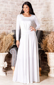 BELLA - Full Sleeve Fall Winter Tall Modest Flowy Maxi Dress Gown - Ivory White
