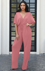 BROOKLYN - Kimono Short Sleeve Casual V-neck Jumpsuit Pantsuit Romper