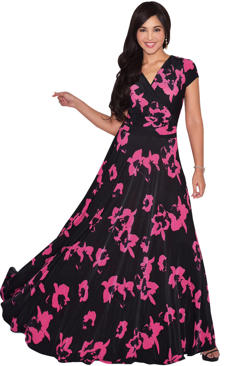 ALEXIS - Womens Floral Printed Cap Sleeves Full Floor Gown Maxi Dress - Black & Pink