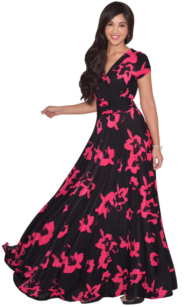 ALEXIS - Womens Floral Printed Cap Sleeves Full Floor Gown Maxi Dress - Black & Red