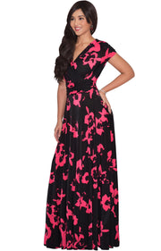ALEXIS - Womens Floral Printed Cap Sleeves Full Floor Gown Maxi Dress
