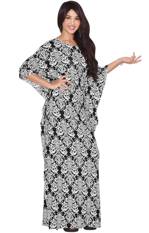 ARIANNA - Womens Damask Print 3/4 Sleeves Long Kaftan Maxi Dress Gown - Black & White
