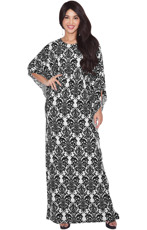 ARIANNA - Womens Damask Print 3/4 Sleeves Long Kaftan Maxi Dress Gown - White & Black