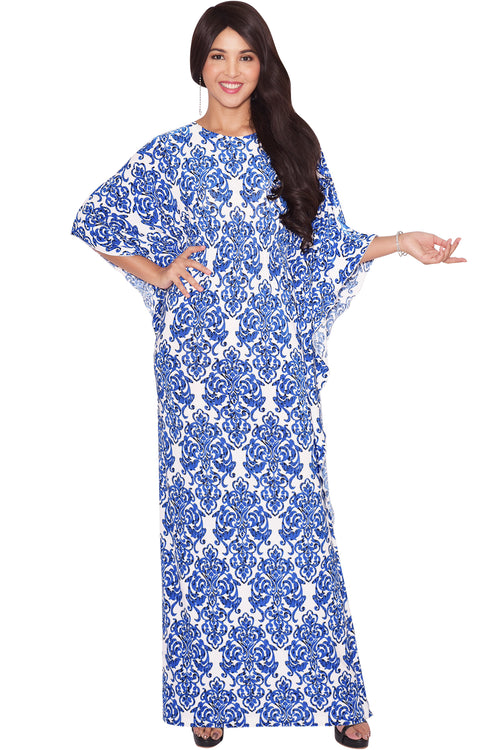 ARIANNA - Womens Damask Print 3/4 Sleeves Long Kaftan Maxi Dress Gown - White & Royal Blue