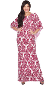 ARIANNA - Womens Damask Print 3/4 Sleeves Long Kaftan Maxi Dress Gown - White & Red