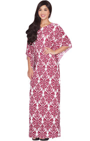 ARIANNA - Womens Damask Print 3/4 Sleeves Long Kaftan Maxi Dress Gown