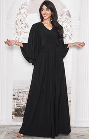 HANNAH - Elegant Batwing Cape Sleeves Cocktail Evening Maxi Dress Gown - Black