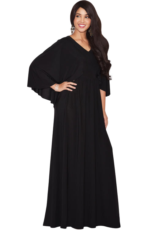 HANNAH - Elegant Batwing Cape Sleeves Cocktail Evening Maxi Dress Gown