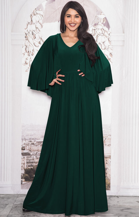 HANNAH - Elegant Batwing Cape Sleeves Cocktail Evening Maxi Dress Gown - Emerald Green