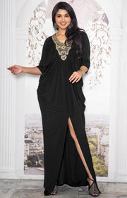 NOLA - Stylish Neck Casual Abaya Caftan High Slit Long Maxi Dress Gown - Black