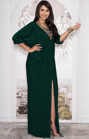 NOLA - Stylish Neck Casual Abaya Caftan High Slit Long Maxi Dress Gown - Emerald Green