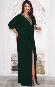NOLA - Stylish Neck Casual Abaya Caftan High Slit Long Maxi Dress Gown