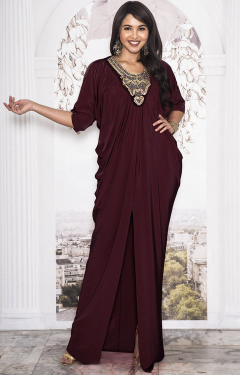 NOLA - Stylish Neck Casual Abaya Caftan High Slit Long Maxi Dress Gown - Maroon Wine Red
