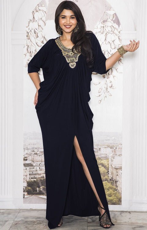 NOLA - Stylish Neck Casual Abaya Caftan High Slit Long Maxi Dress Gown - Dark Navy Blue