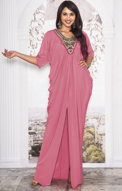 NOLA - Stylish Neck Casual Abaya Caftan High Slit Long Maxi Dress Gown - Cinnamon Rose Pink